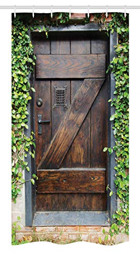 Ambesonne Rustic Stall Shower Curtain, Small Spanish Style Dark Stained Wood Door Secret Garden with Grated Window Picture, Fabric Bathroom Decor Set with Hooks, 36
