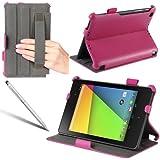 i-Blason Google The New Nexus 7 2 FHD (2nd Generation) Slim Folio Book Auto Wake / Sleep Shell Stand case Cover with Elastic Hand Strap, Stylus Loop & Bonus Stylus (3 Year Warranty)-Pink