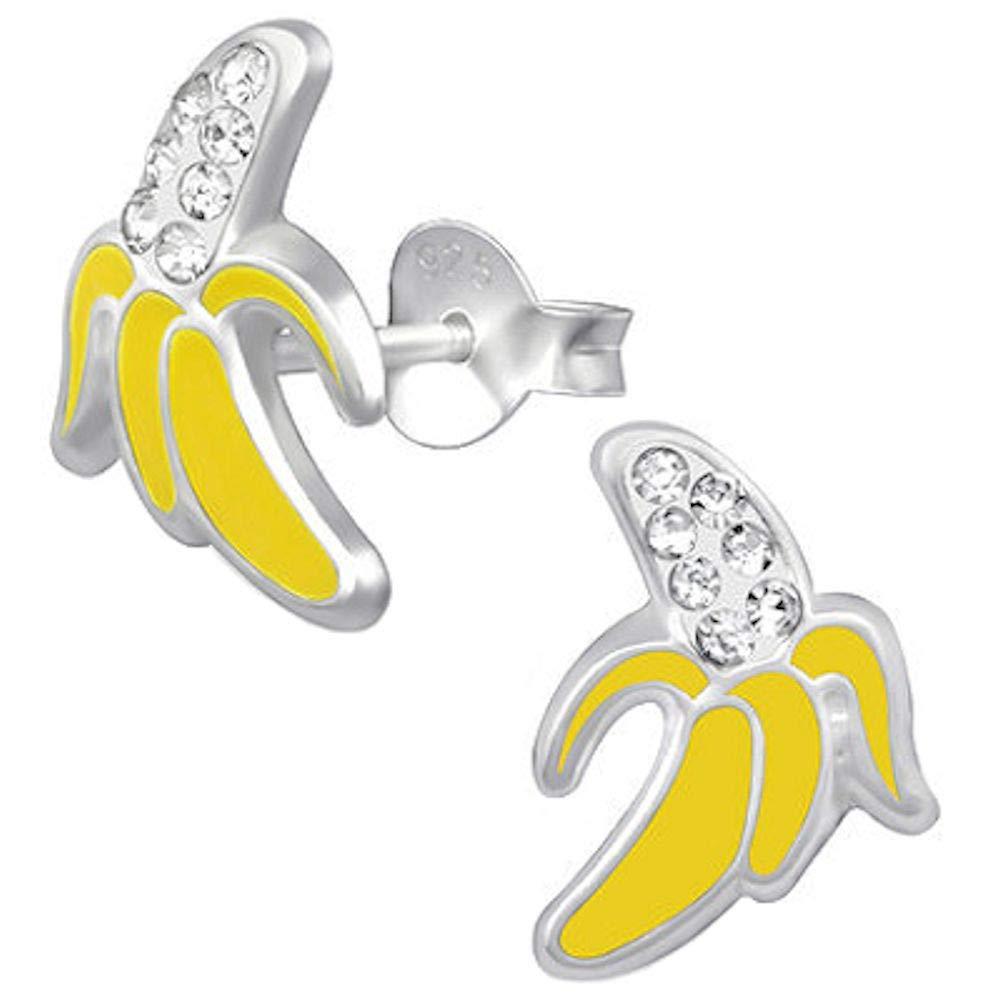 So Chic Bijoux /© Boucles doreilles Enfant Banane Fruit Strass Cristal Blanc Jaune Argent 925