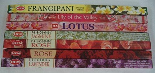 Hem Floral Scented Incense Sampler Set: 7 Packs x 8 Stick = 56 Sticks