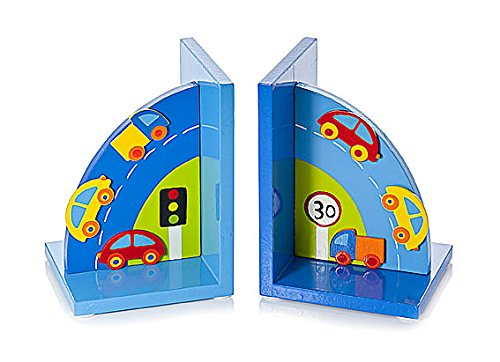 Mousehouse Gifts Children's Blue Wooden Car Bookends for Boys Nursery or Bedroom