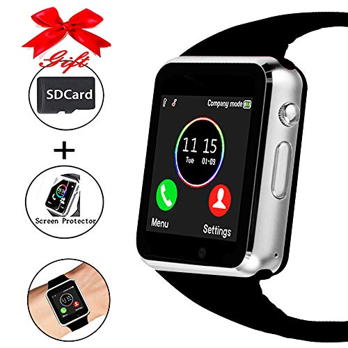 Smart Watch,Unlocked Smartwatch Compatible with Bluetooth/Android/iOS (Partial Functions) Touchscreen Call Text Camera Music Player Notification Sync Smart Watches for Women Men Kids (Fashion Silver) (Watch You)