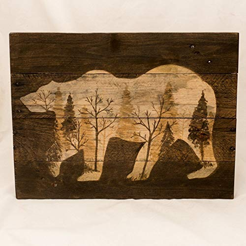 - Log cabin art Rustic wall art Wood wall art New for home Rustic home Decor Woodland wall art Woodland wall decor Bear painting Gifts for him