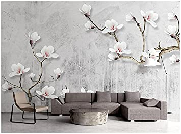 3d Wallpaper Vintage Cement Wall Magnolia Tree Branches Stereo Tv Background Wall 250x180cm Ayzr Amazon Com