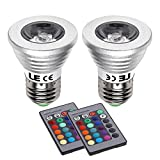 LE 3W Dimmable RGB MR16 E26/E27 LED Bulbs, Color Changing, 30° Beam Angle, 16 Color Choices, Remote Controller Included, LED Light Bulbs, LED Spot light, Spot Bulb, Pack of 2 Units
