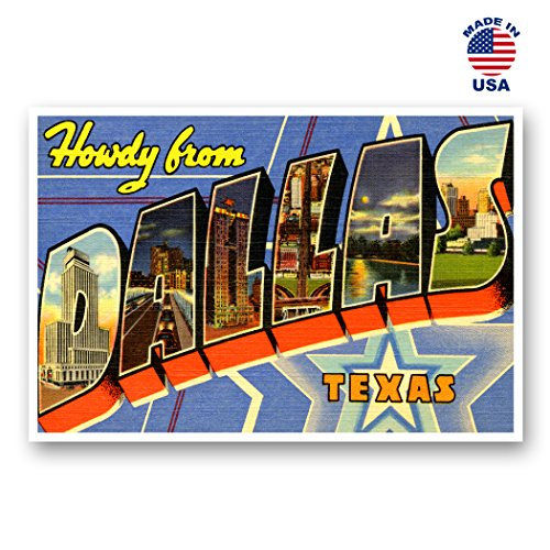 GREETINGS FROM DALLAS vintage reprint postcard set of 20 identical postcards. Large letter Dallas, Texas city and state name post card pack (ca. 1930's-1940's). Made in USA.