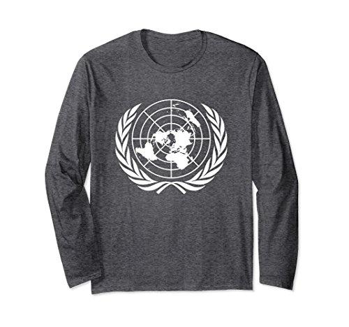 Nation Adult T-shirt - Unisex United Nations Emblem Long Sleeve T-Shirt Large Dark Heather