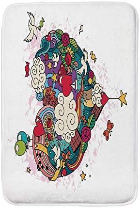 """落書きソフトドアマット、手描き愛落書き心雲素敵な猫と鳥風船リビングルームのための装飾的な巨大なハート形、19.6"""" W X 31.4"""" L 18 279390fc68184427bc1842192 60x40cm"""