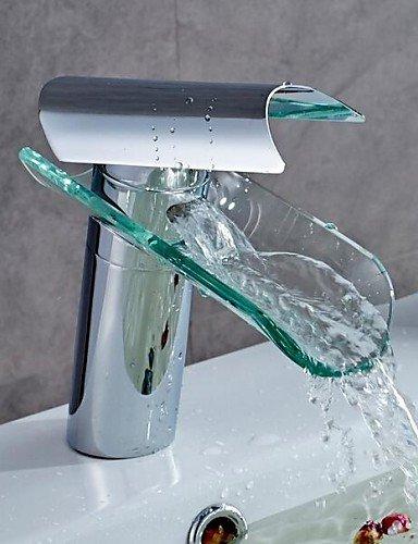 Waschbecken Wasserhahn modernes Design Glasauslauf WasserfaÖl hochwertigen Messinghahn (verchromt)