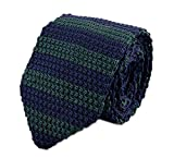 mens blue green ties - Secdtie Men's Preppy Wide Stripe Navy Blue Green Jacquard Silk Tie Necktie 014