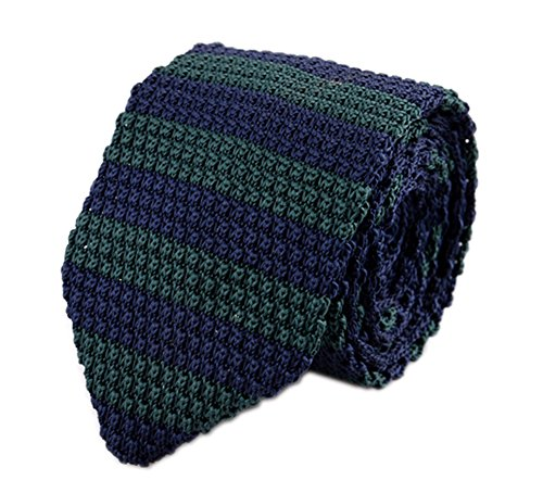 Green Wool Knit Ties (Secdtie Men's Preppy Wide Stripe Navy Blue Green Jacquard Silk Tie Necktie 014)