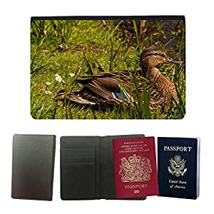 Hot Style PU Leather Travel Passport Wallet Case Cover // M00113334 Bird Mallard Animals // Universal passport leather cover