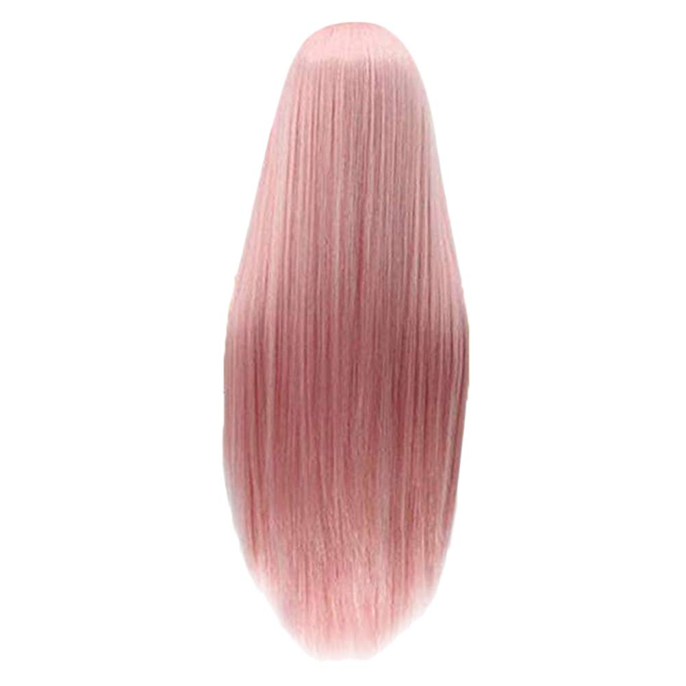 Women's Party Pink Long Straight Hair Wig Synthetic Hair Wigs for Adult (LS-215) by LURROSE