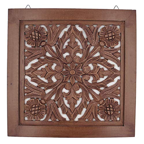 "DharmaObjects Handcrafted Lotus Wood Wall Panel Decor Hanging Art 16"" X 16"" (Walnut) from DharmaObjects"