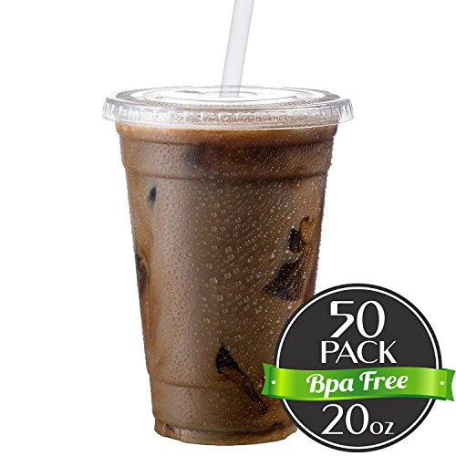 Cold Smoothie Go Cups and Lids | Iced Coffee Cups | Plastic Cups with Lids | 20 oz Cups, 50 Pack | Clear Disposable Pet Cups | Ideal for Parfait Juice Soda Cocktail Party Cups [Drinket Collection] (Collection Parfait)