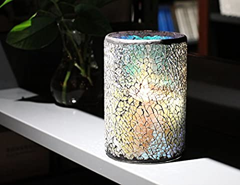 DFL 4X6 Inch Multicolour Mosaic Glass With Flameless led Candle With Timer,Work With 2xD Batteries,