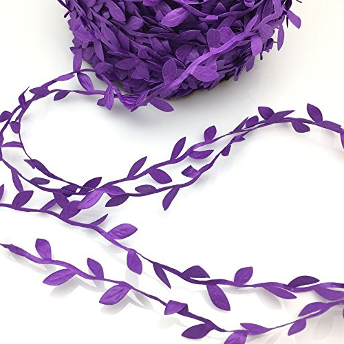 - FQTANJU 10 Yards Leaf Ribbon, Purple