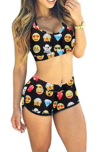 SDolphin Women Sporty Bandage Bikini Set Graphic Print Swimwear Bathing Suitt M