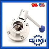 """1-4 Inch Clamp Sanitary Butterfly Valve with Pull Handle, Silicone Gasket, Stainless Steel 304/316L(US Stock) (1 1/2"""", SS304)"""