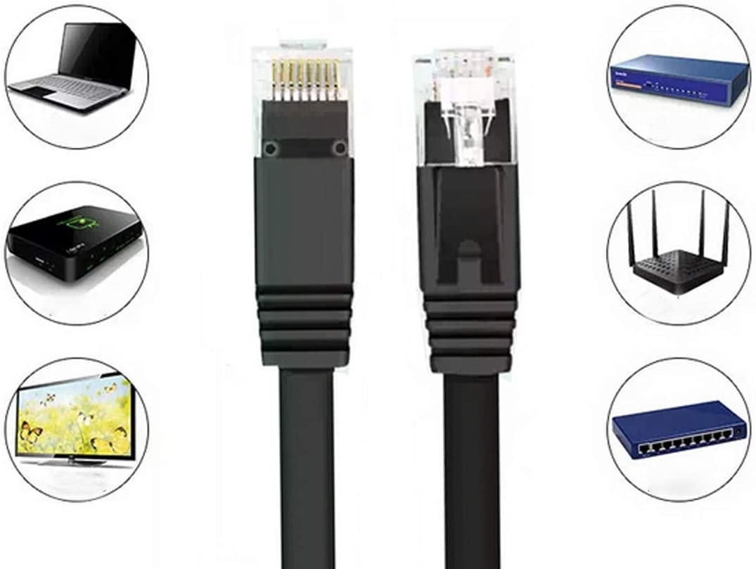 Occus Yoton Good 1M//3M//5M//10M Ethernet Cable High Speed RJ45 CAT6 Flat Ethernet Network LAN Cable UTP Patch Router Occus Cable Length: 5m, Color: Black