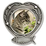 Cat Memorial Frame - Metal Heart Shaped Picture Frame with Crystals - Cat Remembrance - Pet Memorial - Cat Picture Frame