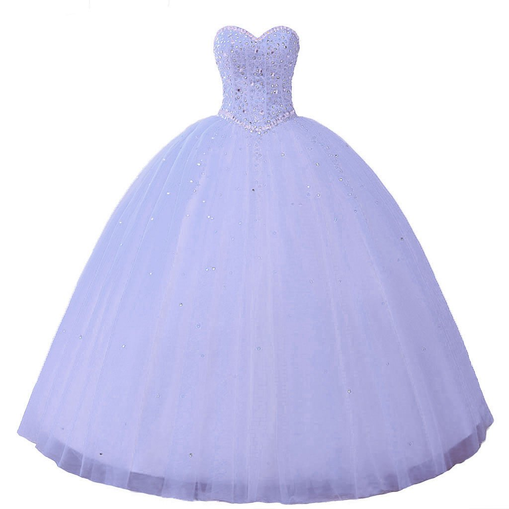 Lavender Vantexi Women's Pretty Ball Gown Quinceanera Dress Beaded Prom Dresses