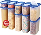 Food Storage Containers Set -STACKO- 20 PC. SET - Airtight Dry Food storage Container with LIDS - Durable Clear Frosted Plastic BPA Free - Space Saver Modular Design - 10 Container set
