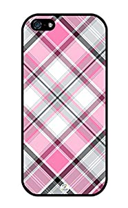 iZERCASE Pink and Black Plaid Pattern RUBBER iphone SE / iPhone 5S case - Fits iphone SE, iPhone 5S T-Mobile, AT&T, Sprint, Verizon and International