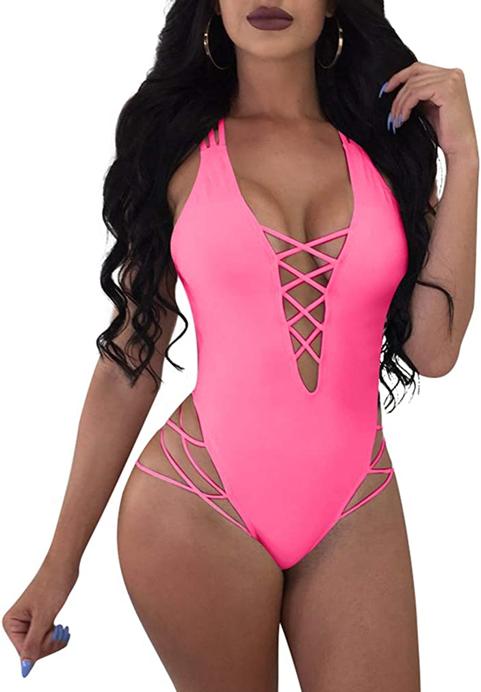 LAGSHIAN Womens Sexy One Piece Lace Up Straps Swimsuit Bathing Suit Swimwear