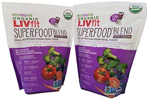 ORGANIC LIVfit SUPERFOOD Blend with PROTEIN (2 PACK 120 total days supply) GLUTEN-FREE VEGAN SOY FREE NATURAL POWDER
