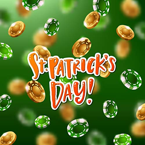 Yeele 10x10ft Fabric Vinyl St.Patrick's Day Photography Background Festival Event Decoration Gold Green Chips Studio Props Video Drape Wallpaper Lucky Irish Shamrocks Studio Props Video Wallpaper