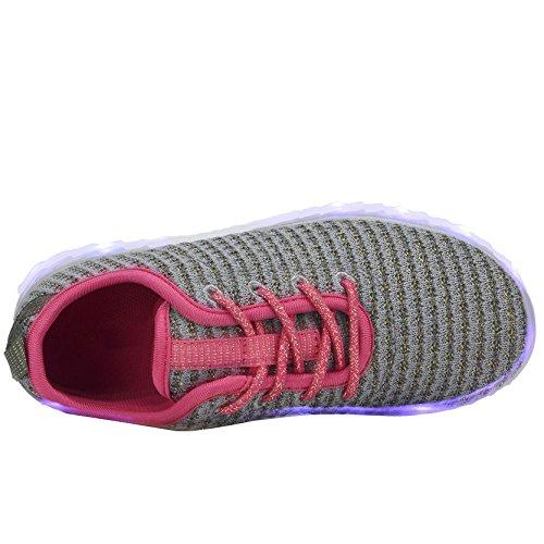 COODO LED leuchten Schuhe für Frauen Kinder Mädchen blinkende Glitter Turnschuhe (Kleinkind / Kind / Frauen) 4-grau / Fuchsia