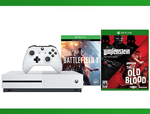 Xbox-One-S-500-GB-Battlefield-1-Console-Wolfenstein-The-Two-Pack-WWE-2K16-Bundle-3-Items