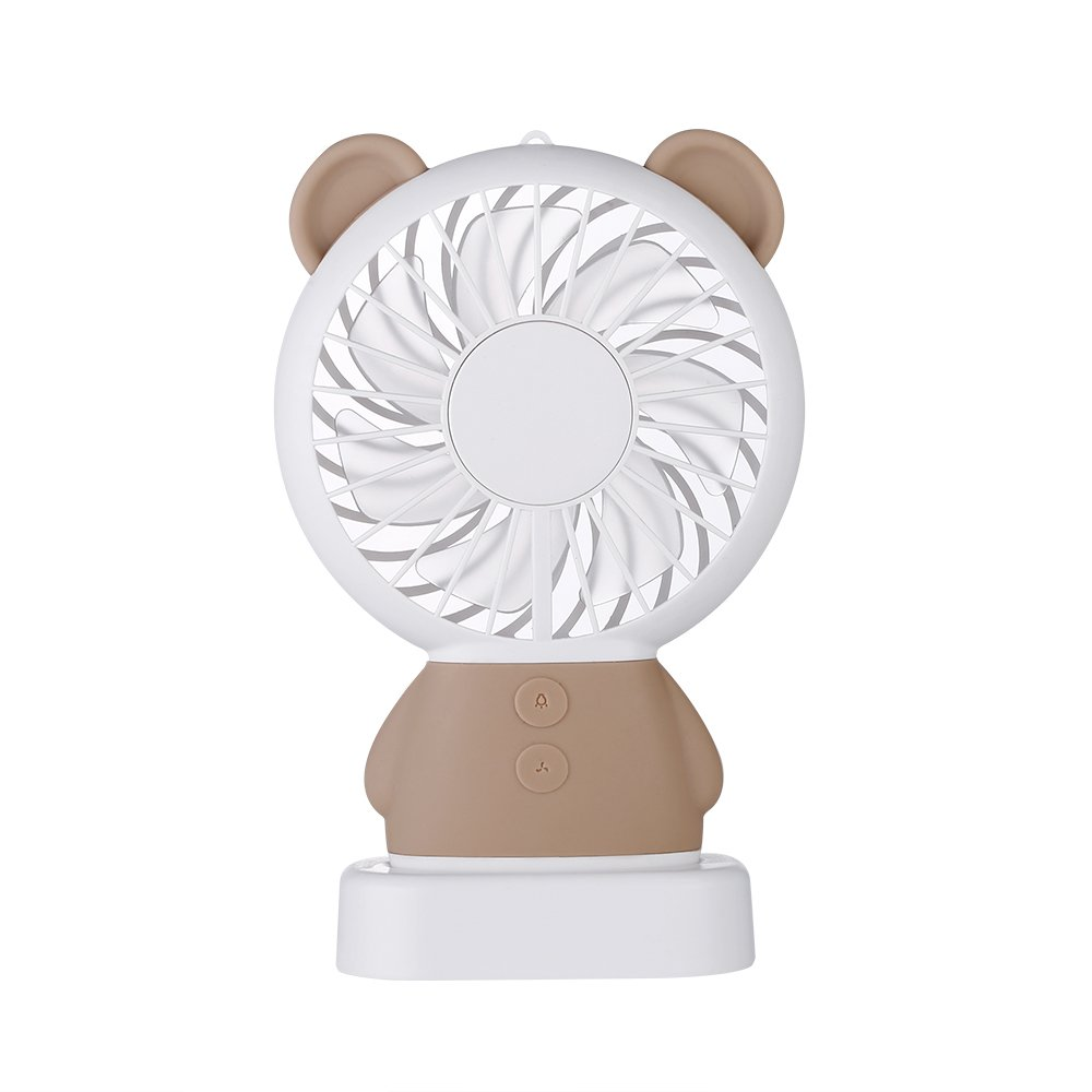 TechCode Handheld Electric Fans, Cute USB Charger Noiseless Fans 2 Speed Adjustable Rechargeable Handhold Portable Personal Fans Creative Cooling Mini Fan with Colorful Led Night Light (Brown) by TechCode (Image #2)