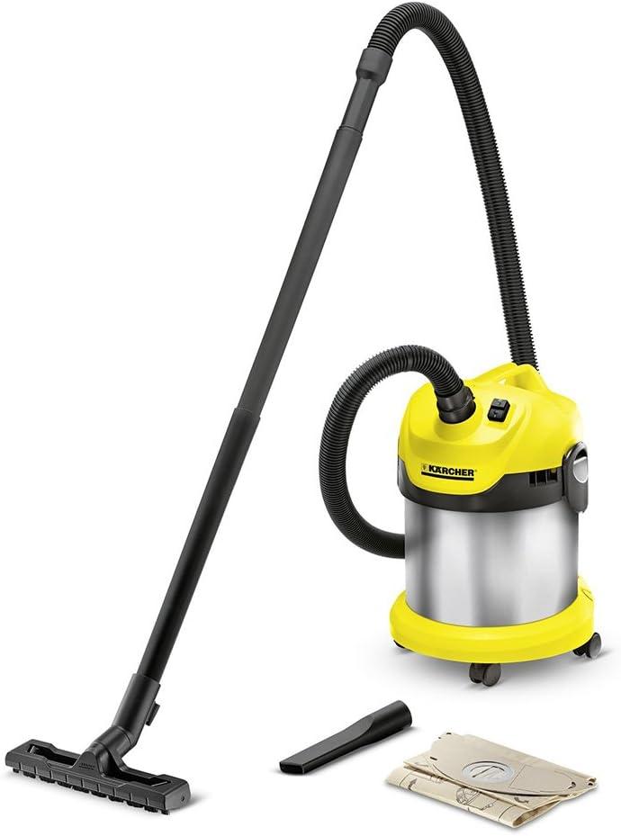 Kärcher WD 2 PREMIUM BASIC - Extractor de polvo (1000 W, Negro, Acero inoxidable, Amarillo, Seca y húmeda, 1,9 m, 3,5 cm, 340 mm): Amazon.es: Hogar