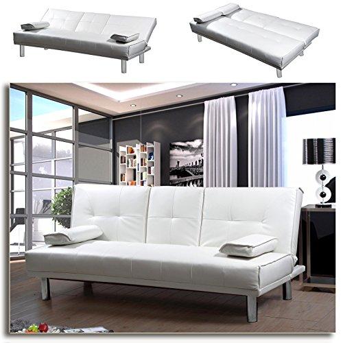 MANHATTAN-Funktionssofa-Weiss-Schlafsofa-Sofa-Kunstleder-Bettsofa-Lounge-Couch