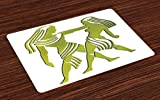 Ambesonne Zodiac Gemini Place Mats Set of 4, Dimensional Representation of Zodiac Twins Holding Each Other in Green, Washable Fabric Placemats for Dining Room Kitchen Table Decor, Green and White
