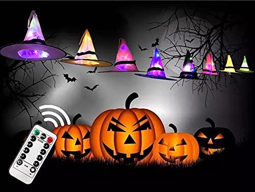 Halloween Dekorationen Hexenhut Lichter 8 Stück, HexenHüte mit Led Lichterketten 8 Modi Lichter, Halloween Party Dekor für Außen Innen Garten Hof Terrasse Baum