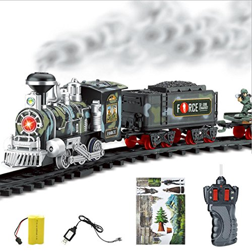 Quartly Classic Toy Train with Real Steam Smoke - Remote Control Battery Operated Electric Train Set - Full Set Conveyance Car Tracks Model Toy Gift (Model Railroad Control)