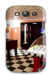 Chris Camp Bender's Shop 9349565K10558997 Fashion Protective Home Theater And Play Room With Checker Board Floor Tiles And Air Hockey Table Case Cover For Galaxy S3