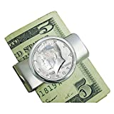 Coin Money Clip - Proof JFK Half Dollar | Brass Moneyclip Layered in Silver-Tone Rhodium | Holds Currency, Credit Cards, Cash | Genuine U.S. Coin | Includes a Certificate of Authenticity