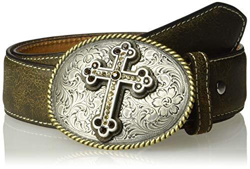 Nocona Belt Co. Women's Nocona Brown Crackle Cross Buckle Belt, Large ()
