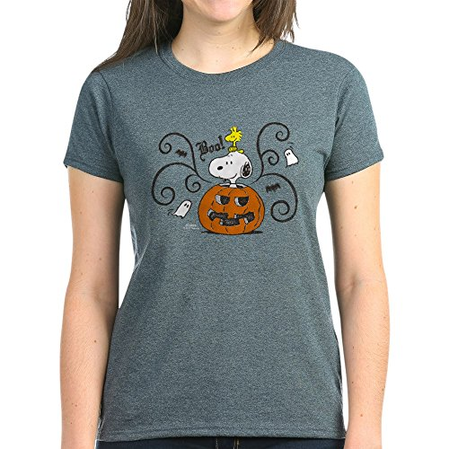 CafePress Peanuts Snoopy Sketch Pumpkin Women's Dark T Shirt Womens Cotton T-Shirt Charcoal ()