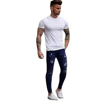 13432f55a22c Männer Stretchy Ripped Skinny Jeans Slim Fit Denim Hosen von Sannysis (2XL,  Dunkelblau)