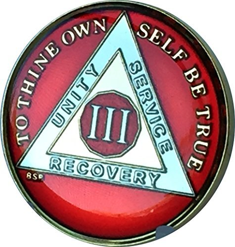 (Bright Star Press 3 Year Mandarin Red Gold & Nickel Tri-Plate AA Alcoholics Anonymous Sobriety Medallion Chip Serenity Prayer)