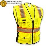KwikSafety BIG KAHUNA Safety Vest | Class 2 ANSI OSHA PPE | High Visibility Reflective Stripes, Heavy Duty Mesh with Pockets and Zipper | Hi-Vis Construction Work Hi-Vis Surveyor | Men Yellow Medium