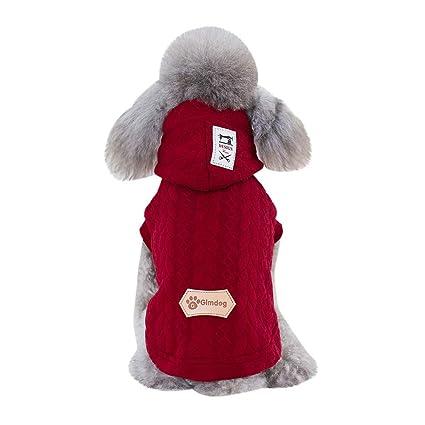 Ropa para Mascotas Invierno Abrigo Chaqueta Caliente Abrigo de algodón Jacquard Tricolor para Mascotas Perro Gusspower