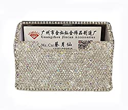 Rhinestones Stainless Steel Metal Business Card Holder (Square)
