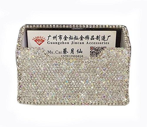 Time Cards Calculator - Bestbling Bling Pure Handmade Bling Bling Rhinestones Stainless Steel Metal Business Card Holder Name Card Case (Square)