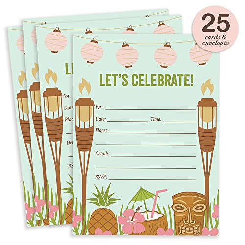 25 Luau Tiki Invitations with Envelopes ( Pack of 25 ) Fill In Summer Party Invites, BBQ, Cookout, Rehearsal Dinner, Baby Shower, Graduation, Birthday Party Excellent Value VI0021B